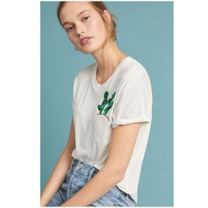 Anthropologie Embroidered Cactus Tee XL Top TINY
